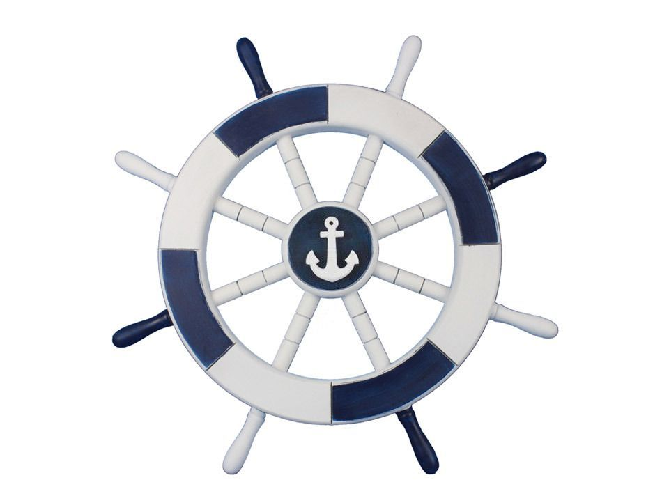 Dark Blue And White Decorative Ship Wheel With Anchor 18 From Hampton Nautical