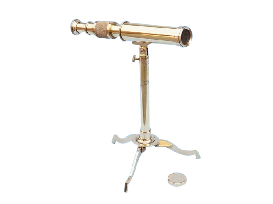 "Amtique 10/"" Solid Brass Decorative Collectible Decor Telescope with Tripod Stand"
