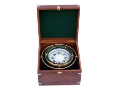 Antique Brass Gimbal Compass w- Rosewood Box 9