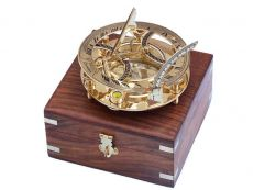 Solid Brass Round Sundial Compass w- Rosewood Box 6