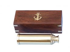 Deluxe Class Solid Brass Captains Spyglass Telescope 15 w- Rosewood Box