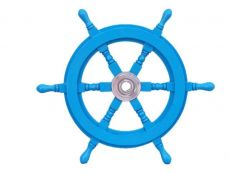 Deluxe Class Light Blue Wood and Chrome Decorative Ship Steering Wheel 18
