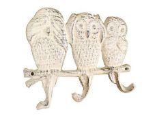 Whitewashed Cast Iron Owl Wall Hooks 9