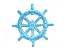 Light Blue Whitewashed Cast Iron Ship Wheel Bottle Opener 3.75