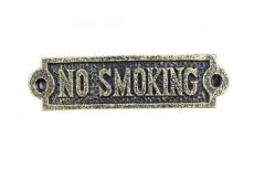Antique Gold Cast Iron No Smoking Sign 6\