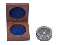 Antique Copper Paperweight Compass with Rosewood Box 3