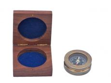 Antique Brass Paperweight Compass with Rosewood Box 3