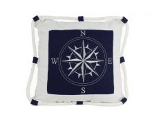Blue Compass With Nautical Rope Decorative Throw Pillow 16
