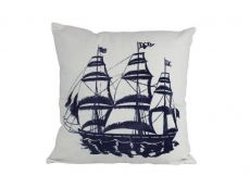 Blue Tall Ship Decorative Nautical Throw Pillow 16