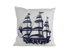 Blue Tall Ship Decorative Nautical Throw Pillow 16\