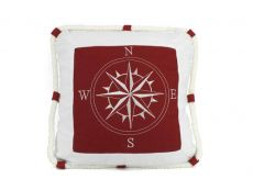 Red Compass With Nautical Rope Decorative Throw Pillow 16\
