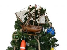 Wooden Charles Darwins HMS Beagle Model Ship Christmas Tree Topper Decoration