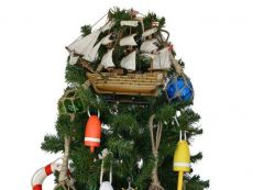 Wooden HMS Victory Model Ship Christmas Tree Topper Decoration