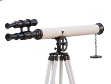 Floor Standing Oil-Rubbed Bronze-White Leather Griffith Astro Telescope 64