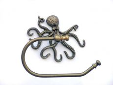 Antique Brass Octopus Toilet Paper Holder 10