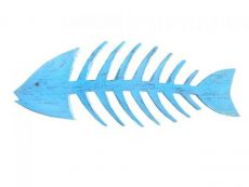 Wooden Rustic Light Blue Fishbone Wall Mounted Decoration 25