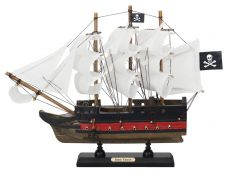 Wooden Captain Kidds Black Falcon White Sails Limited Model Pirate Ship 12