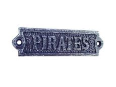 Rustic Dark Blue Whitewashed Cast Iron Pirates Sign 6