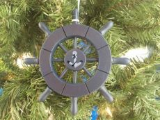 Dark Blue Decorative Ship Wheel With Anchor Christmas Tree Ornament 6