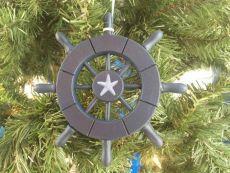 Dark Blue Decorative Ship Wheel With Starfish Christmas Tree Ornament 6