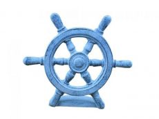 Dark Blue Whitewashed Cast Iron Ship Wheel Door Stopper 9