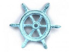 Dark Blue Whitewashed Cast Iron Ship Wheel Decorative Paperweight 4