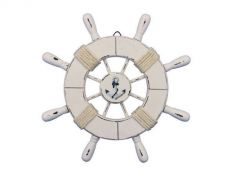 Rustic All White Decorative Ship Wheel With Anchor 9