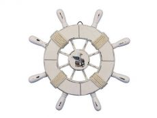 Rustic All White Decorative Ship Wheel With Seagull 9\