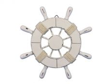 Rustic All White Decorative Ship Wheel 9