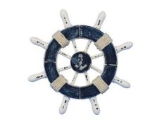 Rustic Dark Blue and White Decorative Ship Wheel With Anchor 6\