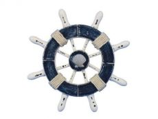 Rustic Dark Blue and White Decorative Ship Wheel With Seashell  6