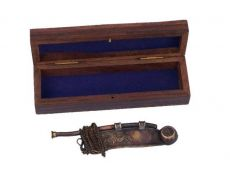 Antique Copper Boatswain (Bosun) Whistle 5 w- Rosewood Box