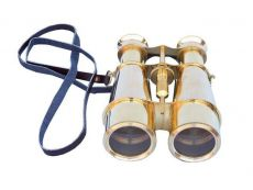 Captains Solid Brass Binoculars with Leather Case 6