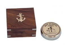 Solid Brass Boy Scout Compass with Rosewood Box 3\