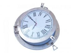 Brushed Nickel Deluxe Class Porthole Clock 24