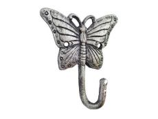 Rustic Silver Cast Iron Butterfly Hook 6