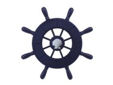 Dark Blue Decorative Ship Wheel With Seashell 9