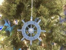 Rustic Light Blue Decorative Ship Wheel With Seashell Christmas Tree Ornament  6
