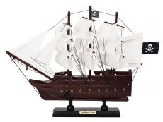 Wooden Caribbean Pirate White Sails Model Pirate Ship 12