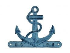 Rustic Dark Blue Whitewashed Cast Iron Anchor with Hooks 8\