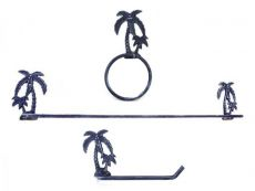 Rustic Dark Blue Cast Iron Palm Tree Bathroom Set of 3 - Large Bath Towel Holder and Towel Ring and Toilet Paper Holder