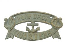 Seaworn Bronze Cast Iron Poop Deck Quarters Sign 8