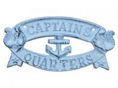 Rustic Dark Blue Whitewashed Cast Iron Captains Quarters Sign 8