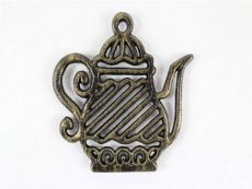 Rustic Gold Cast Iron Teapot Trivet 9
