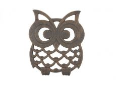 Rustic Copper Cast Iron Owl Trivet 8