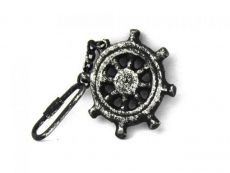 Antique Silver Cast Iron Ship Wheel Key Chain 5