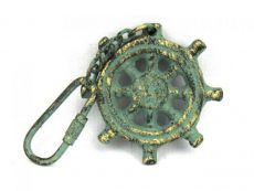 Antique Bronze Cast Iron Ship Wheel Key Chain 5