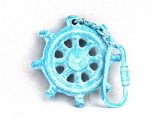 Light Blue Whitewashed Cast Iron Ship Wheel Key Chain 5