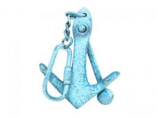 Light Blue Whitewashed Cast Iron Anchor Key Chain 5
