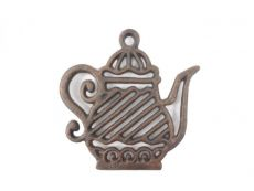 Rustic Copper Cast Iron Teapot Trivet 9